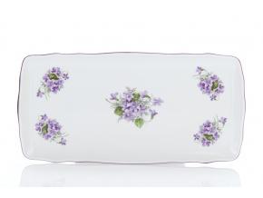 Podnos čtyřhranný, český porcelán, 33 cm, fialky, Český porcelán
