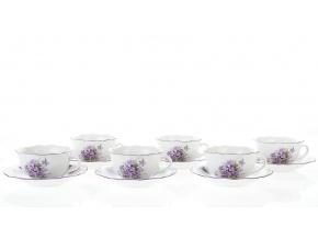 šálky a podšálky fialky 200 ml český porcelán
