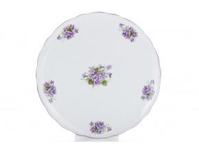 Talíř dortový, český porcelán, 31 cm, fialky, Český porcelán