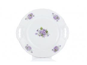 Talíř koláčový, český porcelán, 28 cm, fialky, Český porcelán