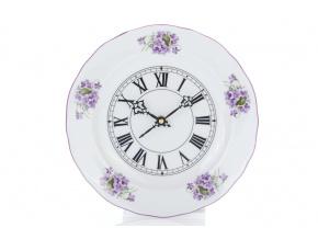 Hodiny, český porcelán, 24 cm, fialky, Český porcelán