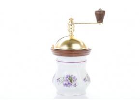 Mlýnek na kávu Aneta, český porcelán, fialky, Český porcelán