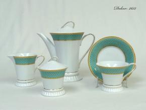 Světlana, čajová souprava, zelený dekor, zlato, Rudolf Kämpf