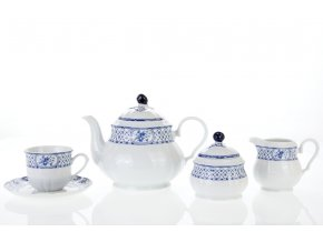 Rose, čajová souprava, modrá stuha, porcelán