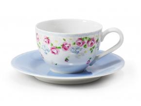 Šálek s modrým podšálkem, 0,20 l, RoseLine, kvítky, Leander, český porcelán