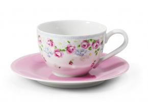 Šálek s růžovým podšálkem, 0,20 l, RoseLine, kvítky, Leander, český porcelán