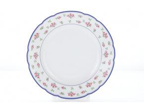 mělký talíř 25 růžičky modrý lem porcelánový svět