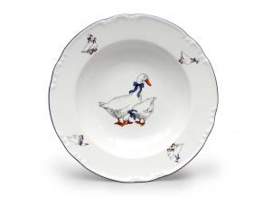 talíř hluboký 22 český porcelán husy thun