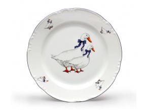talíř mělký 24 český porcelán husy thun