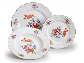 sada talířů český porcelán Bernadotte zahradní květy thun 18 d.