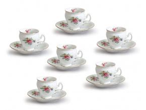 moka šálky český porcelán Bernadotte zahradní květy 90 ml thun 6 d.