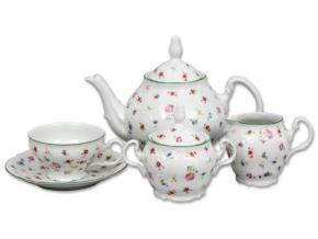 čajový servis český porcelán Bernadotte luční květy thun 15 d.
