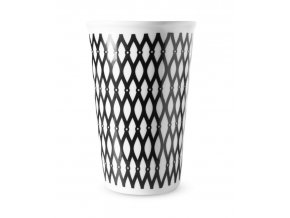 Hrnek na kávu s sebou - černobílý dekor