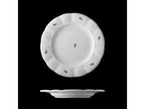 Talíř mělký, český porcelán, kytičky, 24 cm, G. Benedikt