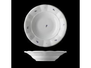 Talíř hluboký, český porcelán, kytičky, 24 cm, G. Benedikt
