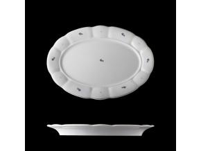 Mísa oválná, porcelán, modré kytičky, 32 cm, G. Benedikt