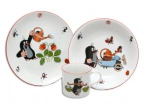 Krteček a jahody, dětská porcelánová souprava, Thun, 3 ks