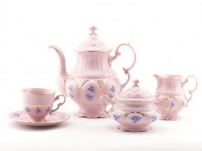 Kávová souprava, modré květiny, růžový porcelán, Leander, 15 dílná