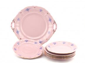 Koláčová souprava Sonáta, modré květiny, růžový porcelán, Leander, 7 dílná