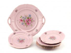 Koláčová souprava Sonáta, květiny, růžový porcelán, Leander, 7 dílná