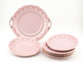 Koláčová souprava Sonáta, kytičky, růžový porcelán, Leander, 7 dílná