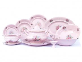 Jídelní  souprava Sonáta, květiny, růžový porcelán, Leander, 25 dílná