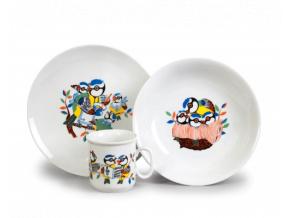 Sýkorky, dětská souprava, český porcelán, Thun, 3 ks 2