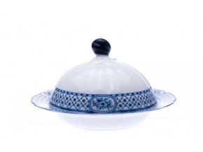 porcelánová máslenka rose, modrá stuha, český porcelán