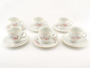 Bernadotte, šálky a podšálky kávové, růže, zlatá linka, Thun, 6 ks