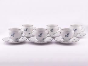 Bernadotte, šálky a podšálky 240 ml, modré růžičky, Thun, 6 ks