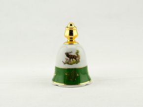 Zvonek 10,5 cm, myslivecký porcelán, kobalt + zlato, Leander