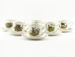 Mary-Anne, šálky na kávu s podšálky, 0,15 l, myslivecký porcelán, Leander, 6 ks