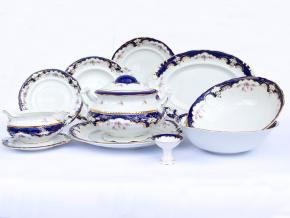 Jídelní souprava, český porcelán, Sonáta, květiny, kobalt + zlato, Leander, 25 d.