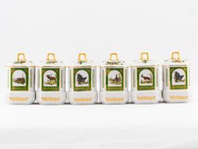 Kořenky 11 cm, myslivecký porcelán, Leander, 6 ks