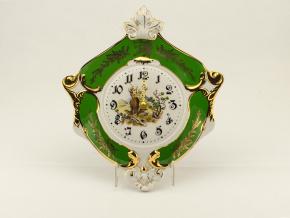 Hodiny nástěnné erbovní 27 cm, myslivecký porcelán, Leander