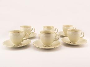 Bernadotte, šálky a podšálky kávové, slonová kost, zlatá linka, Thun, 6 ks