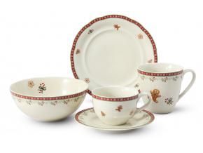 Snídaňová sada, porcelán, Vánoční perníčky, Leander, 5 d