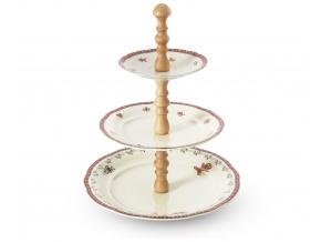 Etažér, světlé dřevo, porcelán, Vánoční perníčky, Leander