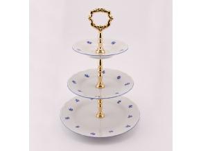 Etažérka trojdílná, Ofélie modrá házenka, porcelán Stará Role