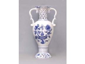 Váza prolamovaná  15,3 x 30 cm, cibulák, Český porcelán