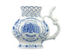 Pohárek lázeňský prolam. Teplice 12 cm, cibulák, Český porcelán