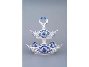 Etažér 2-dílný - mísy pětihranné prolamované  19+24 cm,  cibulák, Český porcelán