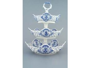 Etažér 3-dílný - mísy pětihranné prolamované  19+24+28 cm,  cibulák, Český porcelán