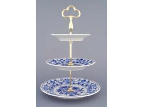 Etažér 3-dílný - talíře plné  15+19+24 cm,  cibulák, Český porcelán