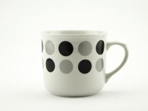 Hrnek vařák s černými a stříbrnými puntíky, 0,65 l, Český porcelán