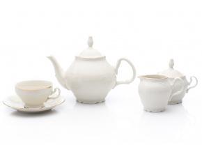 Bernadotte, čajová souprava, zlatý proužek, slonová kost, Thun