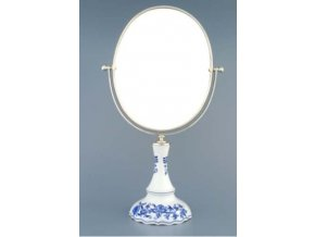 Zrcadlo oválné otočné oválné ve stříbrném rámu  960 g, 2 části,  cibulák, Český porcelán