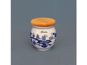 Dóza Baňák s dřevěným víkem a s nápisem  10,4 cm, cibulák, Český porcelán