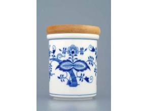 Dóza s dřevěným uzávěrem B - střední  10,5 x 8,2 cm, cibulák, Český porcelán