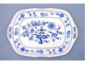 Podnos čtyřhranný s uchy  48 x 33 cm, cibulák, Český porcelán